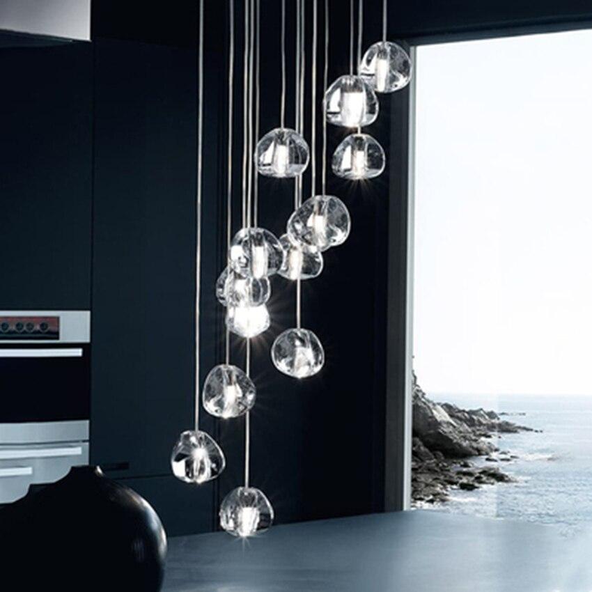 Nordic Led Pendant Lamp Crystal Pendant Lights Modern Stairwell Long Living Room Stair Hanging Lamps Decor Lighting Luminaria in Pendant Lights from Lights Lighting