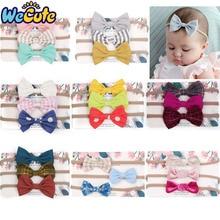 Wecute 3pcs Baby Headband Stretchy Nylon Bow Headwear for Girls Cute Bows Headdress Set Kids Hair Accessories