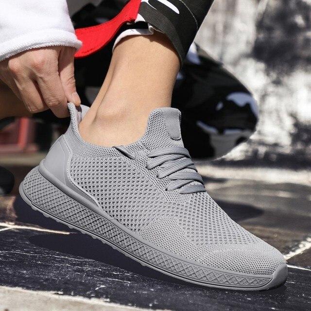 273cc881b 2019 nova Pure color sneakers homem sapatos respirável malha de verão  confortáveis lace-up baratos
