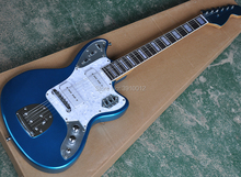 Wholesale High quality metallic blue electric guitar with white pearl pickguard,P90 pickups,Rosewood fretboard with block pearl 5pcs electric guitar pickguard for yamaha pacifica 112v replacement 3ply white pearl