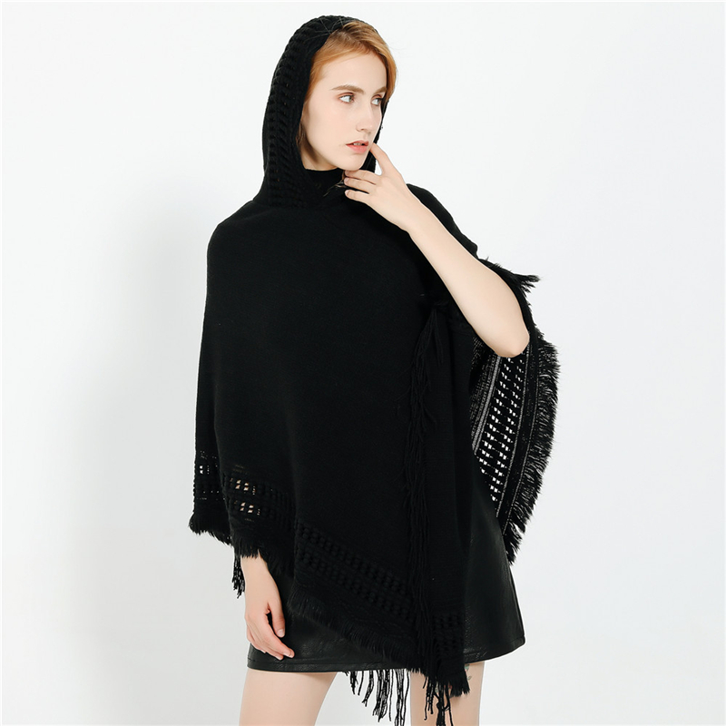 IANLAN New Winter Casual Hooded Shawls Womens Imitation Cashmere Hollow Ponchos All-match Solid Knit Stole with Tassels IL00308