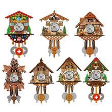 Reloj de pared Cuco, reloj innovador de madera estilo europeo, sala de estar, Vintage, reloj DIY sin batería