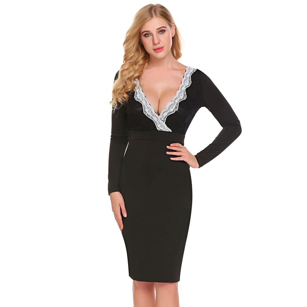 AL'OFA Bodycon Party   Dress   Women V-Neck Long Sleeve Floral Lace Patchwork   Cocktail     Dresses   Sexy Formal Gowns   Cocktail   Robe