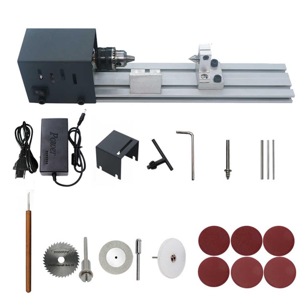 Mini Hout Draaibank Kralen Polijstmachine Machine Houtbewerking Craft DIY Rotary Tool Set Polijsten Snijden DC 24 V Kralen Machine