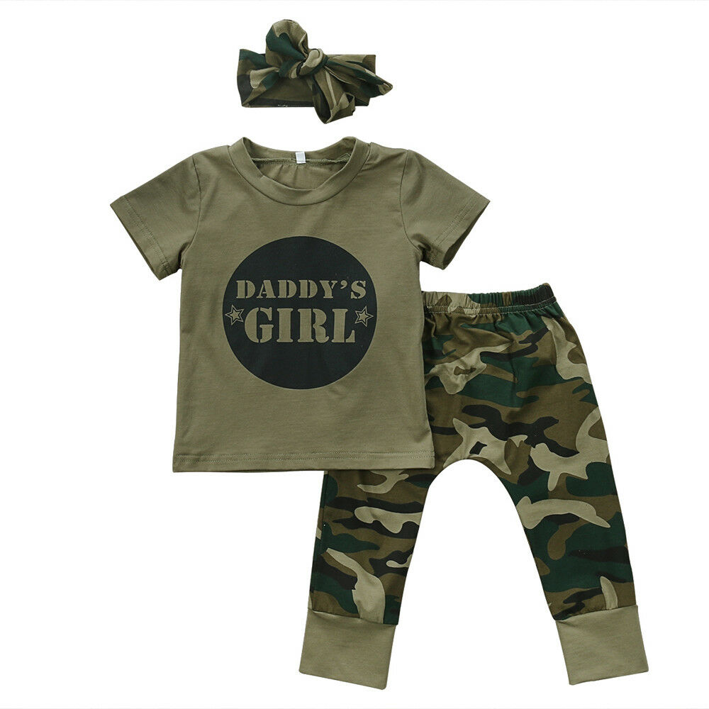 3Pcs Newborn Infant Baby Girl Boy Outfit Clothes Camouflage Letter Tops Tees and Pants Headbands Set 0-18M