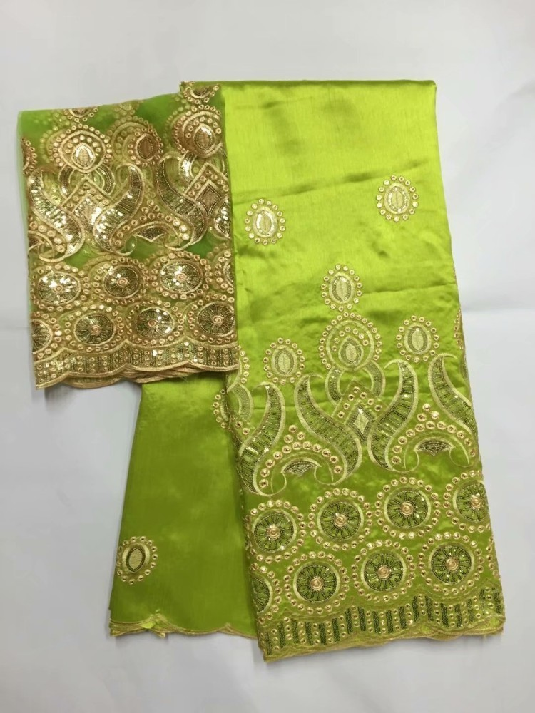 Green Embroidery Fabric With Sequin Latest African George Material With Blouse For Wedding Ankara Nigerian Georges