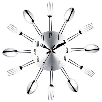 Stainless Steel Knife and Fork Spoon Kitchen Restaurant Wall Clock Home Decoration Wall Analog Novelty Clocks Multifunctional 1