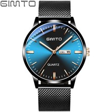 GIMTO Blue Watch Men Gold Wrist Watch For Men Luxury Casual Fashion Business Men's Watches Quartz Watches Man Clock Date Week цена и фото
