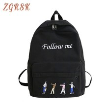 купить Woman Canvas Backpacks For Teenage Girls College Student Letter School Bags Female Fashion Backpack Bagpack Women Shoulder Bag дешево