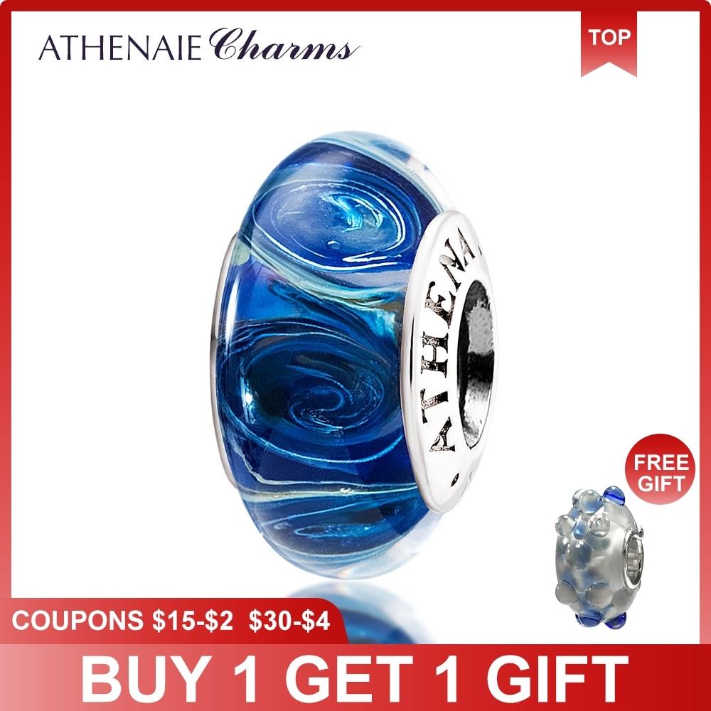 ATHENAIE Genuine Murano Glass 925 Silver Core Galaxy Charms Bead Fit Braccialetto europeo Collana per le donne Gioielli di Natale fai da te
