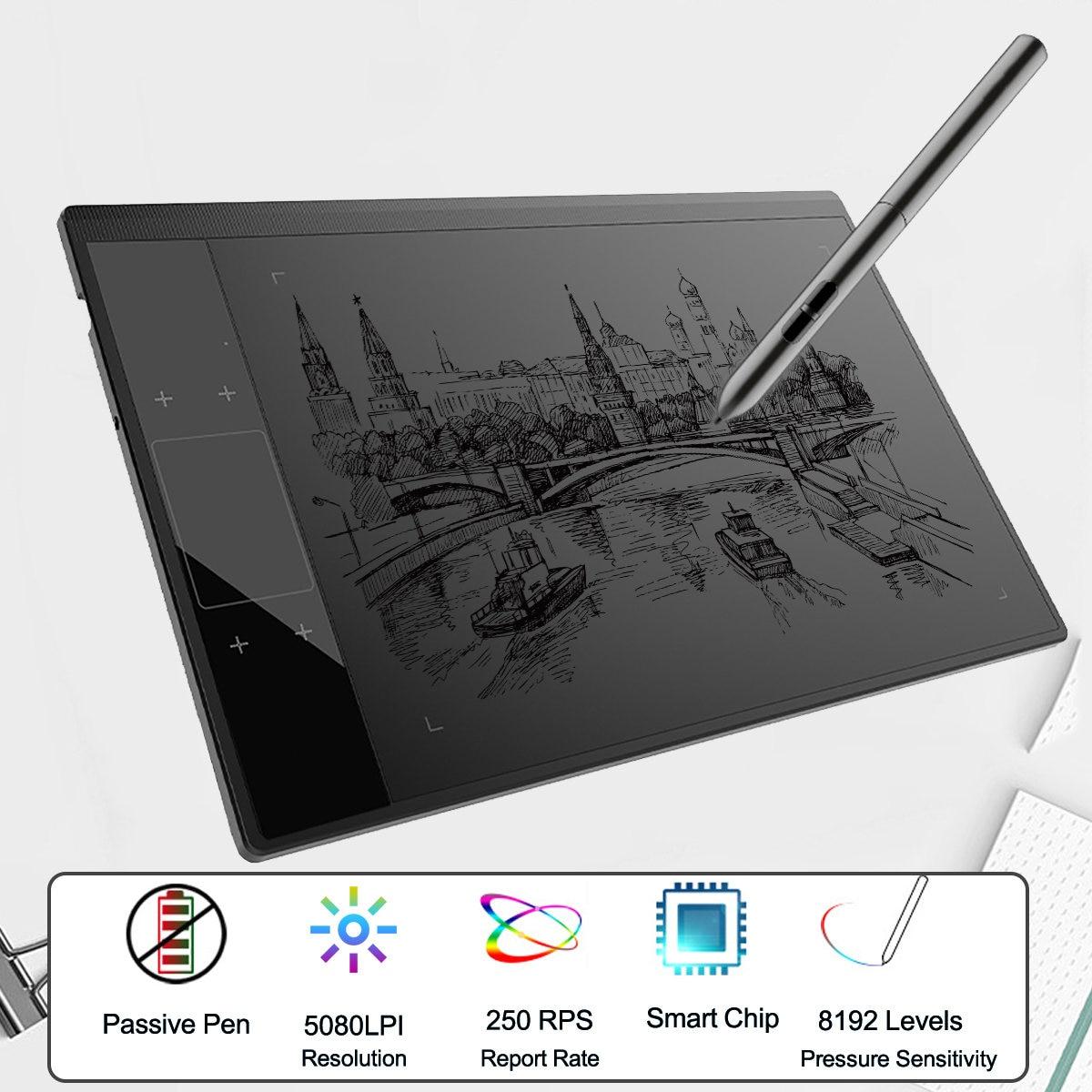 Tablette graphique A30 pour Illustrateur 10x6 pouces Grand Zone Active dessin numérique Pad avec 8192 Niveaux Passive Stylo