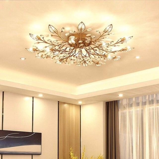 Modern LED Chandelier Fixtures For Living Room Crystal Lampshade Decor Home Lighting Black Gold Bedroom Lustre Lamp AC110-240V 1