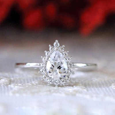 Moda plata 925 anillo de Color en forma de pera anillo de circón para mujer elegante blanco completo circón anillos de boda joyas de moda para novias