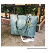 цена на Women Handbags Brand Design Leather Shoulder Bags Female Rivet Tassel Tote Messenger Bag Quality Daily Shopping Beach Bag Clutch