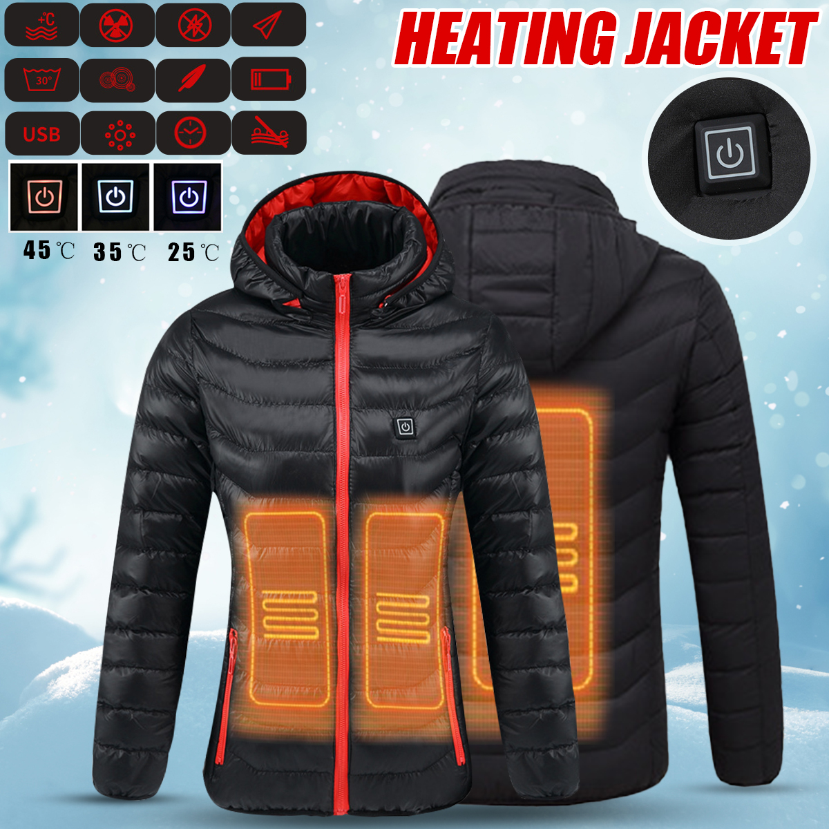 Women Winter Heated Safety Jacket USB Hooded Work Heating Jacket Coats Adjustable Temperature Control Safety Clothing mens winter heated usb charge hooded work jacket coats vest adjustable temperature control safety clothing