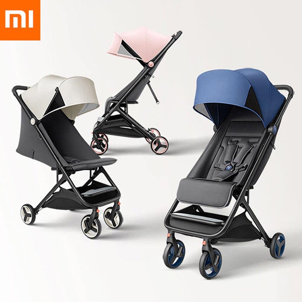Xiaomi MiTU poussette pliante bébé poussette quatre roues multifonctionnel chariot léger Portable voyage chariot Aluminium
