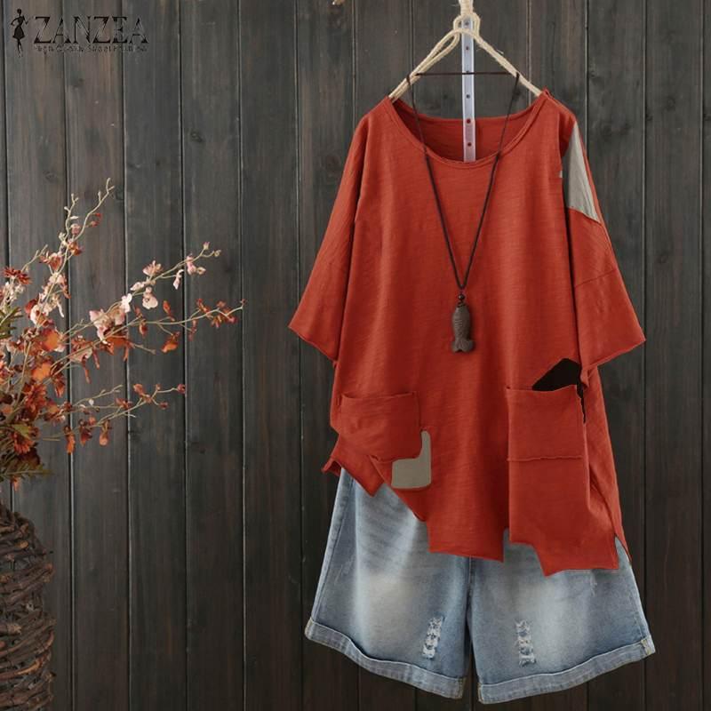 2020 ZANZEA Women Summer Vintage Short Sleeve Blouse Casual Patchwork Tops Femininas Blusas Robe Tee Tunic Loose Shirt Plus Size