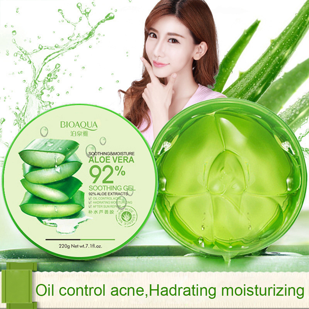 BIOAQUA 220g Natural Aloe Vera Smooth Gel Acne Treatment Face Cream For Hydrating Moist Repair After Sun TSLM1