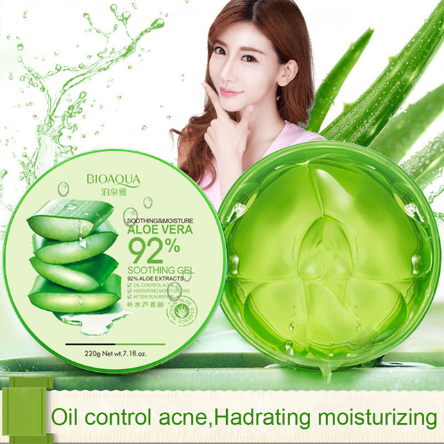 BIOAQUA 220g Natural Aloe Vera Smooth Gel Acne Treatment Face Cream for Hydrating Moist Repair After Sun TSLM1