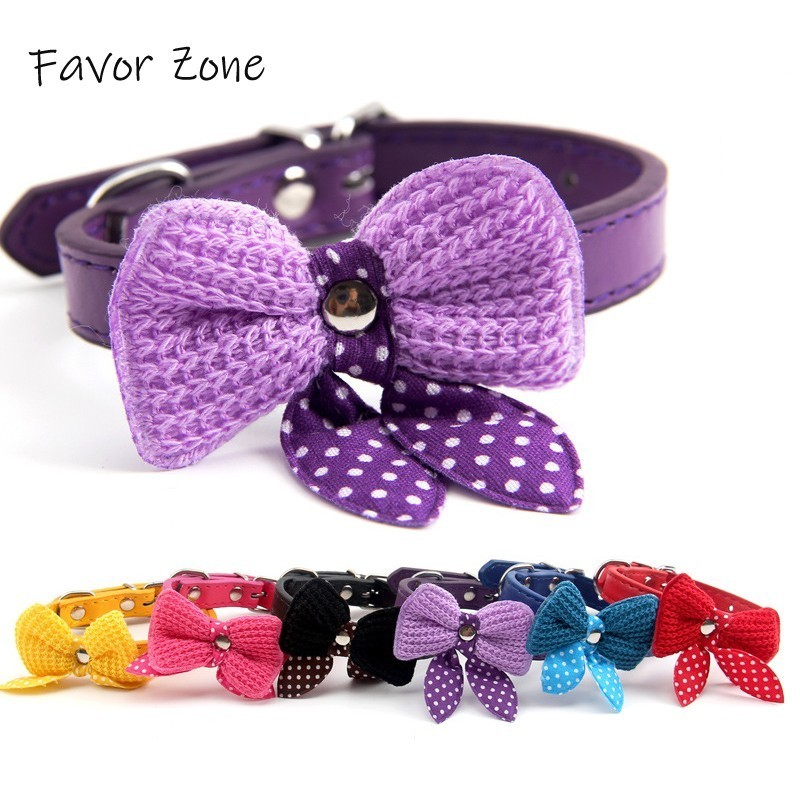 Bow Knot Dog Collar PU Leather Puppy kittens Collar Adjustable Colorful Dog Collars Leather in Choker