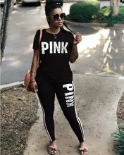 Women Sport two Piece Set 2019 Summer Short Sleeve O Neck Tops and Jogger Set Casual tracksuit two piece outfit set top and pant(China)