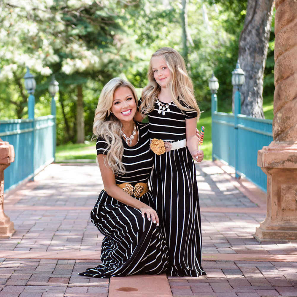 fd820c3b1c Mommy and me family matching mother daughter dresses clothes striped mom  and daughter dress kids parent