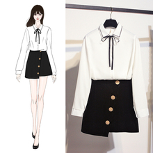 2019 spring new Korean fashion embroidery bowknot loose long-sleeved shirt & buttons Skirts two-piece outfit