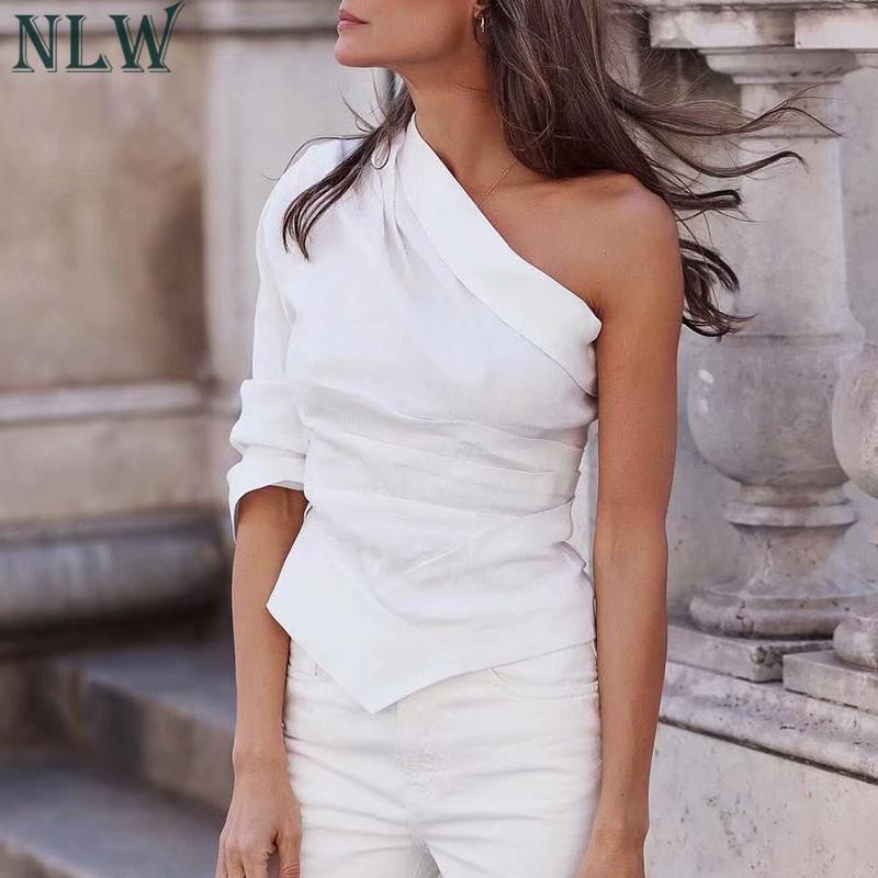 NLW Women 2019 Summer Sexy Chic One Shoulder Skew Neck Blouse Long Sleeve White Women Tops Female Casual High Street Blusa