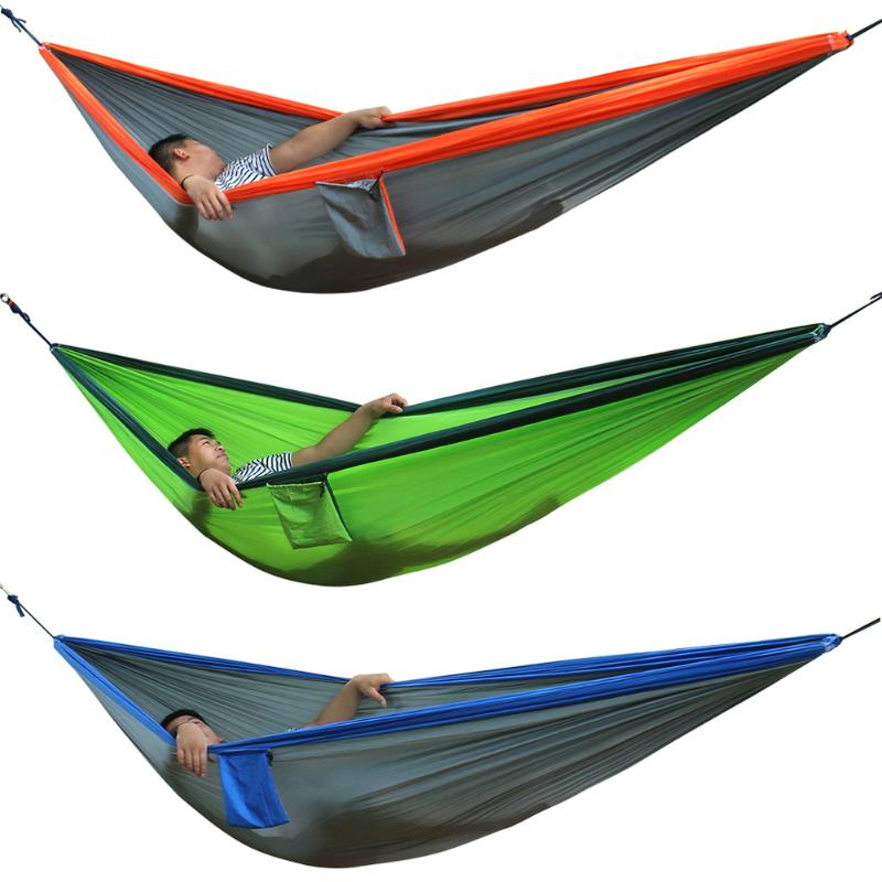 New Double Person Travel Camping Hammock Nylon Fabric Parachute Hammock Portable Outdoor Garden Travel Swing Hang Bed