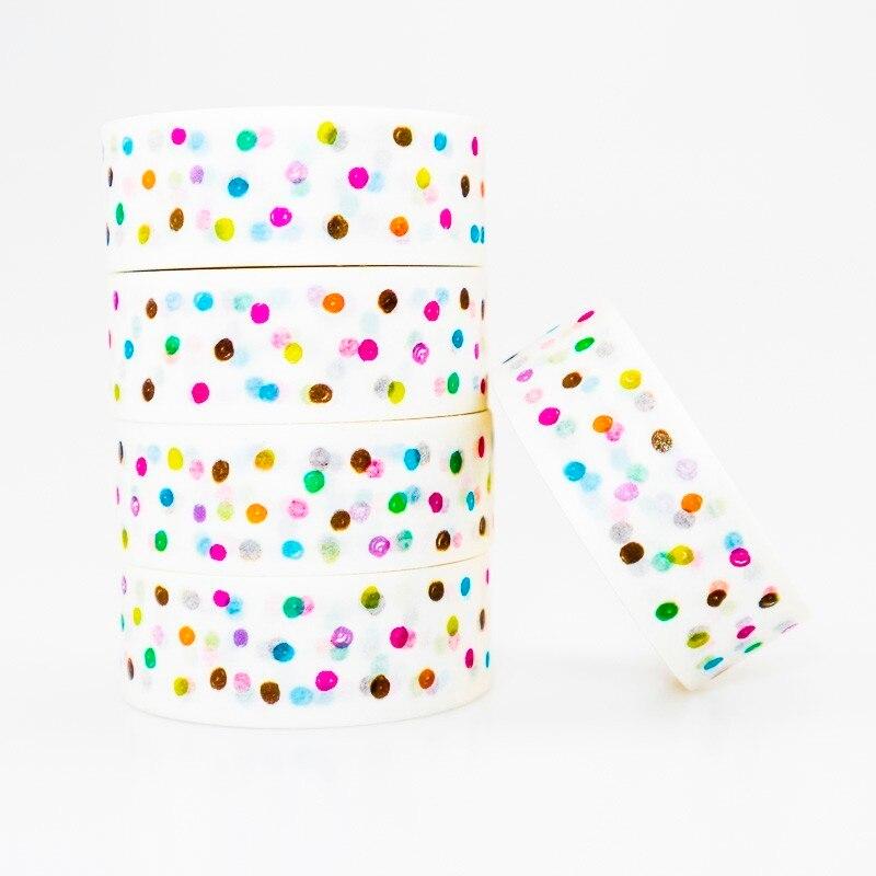 Colorful Dot Pattern Washi Masking Tape Sticky Color Decorative Tape Set DIY Decoration Office Stationery Scrapbook 1PCS