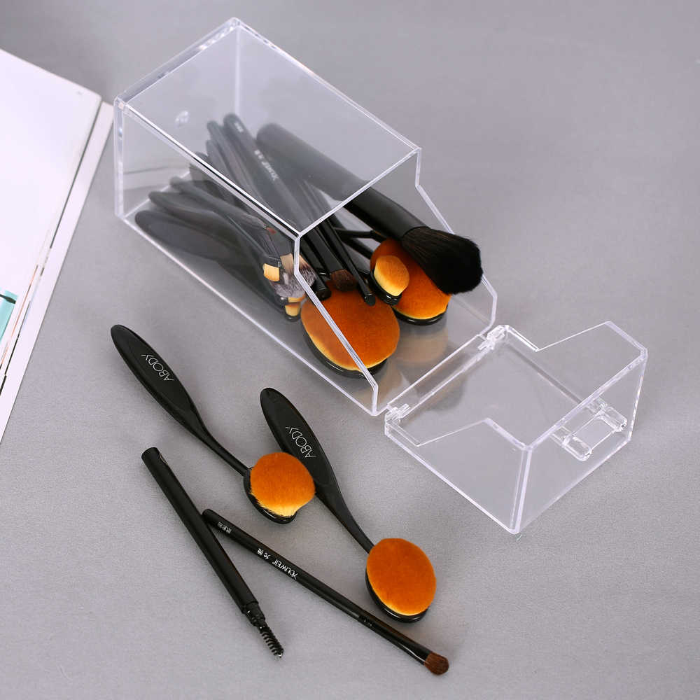 Clear Acrylic Makeup Organizer Storage Box Women's Fashion Brushes Cosmetic Eyebrow Eyeshadow Brush Makeup Brush Sets Waterproof