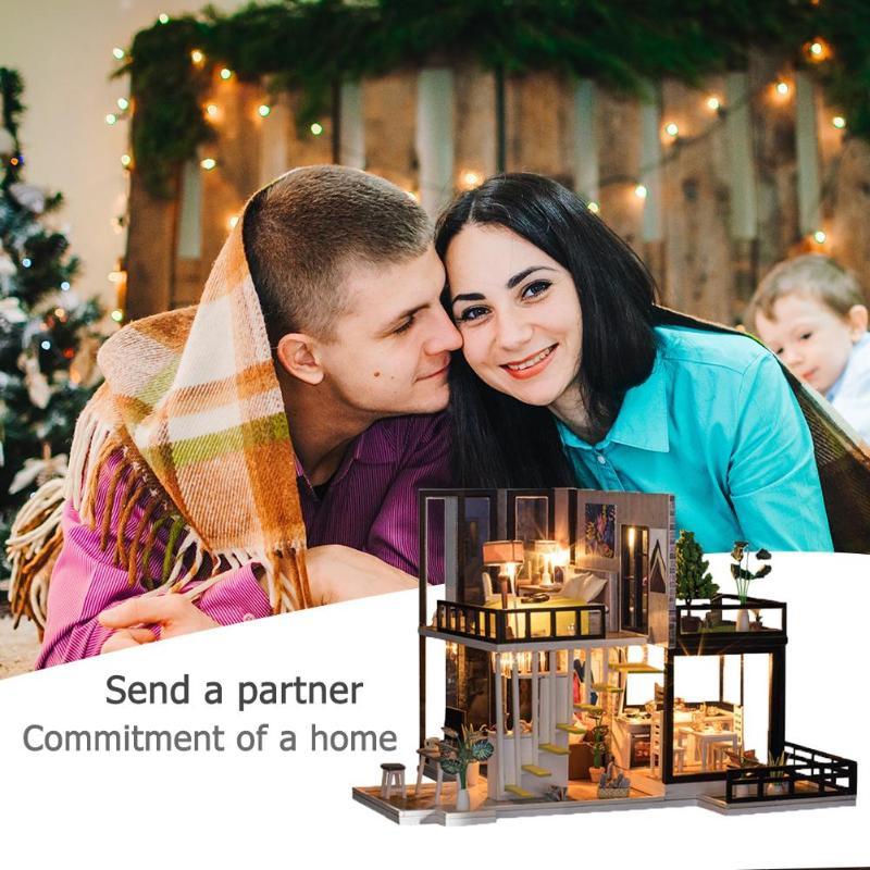 Assemblage bâtiment modèle jouet maison de poupée en bois maison de poupée miniature à monter soi-même Kit de meubles artisanat cadeau d'anniversaire pour 3 + Y enfants - 3
