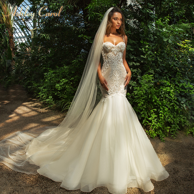 Ashley Carol Sexy Mermaid Wedding Dress 2019 New Glamorous Sweetheart Backless Court Train Vintage Bridal Gown Vestido De Noiva