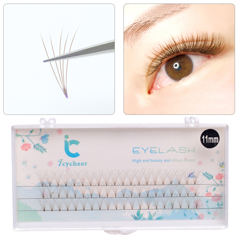 ICYCHEER Brown Individual Eyelash Extension Cilia Lashes False Eyelashes 8-13mm Semi Permanent Volume Eyelash Cluster