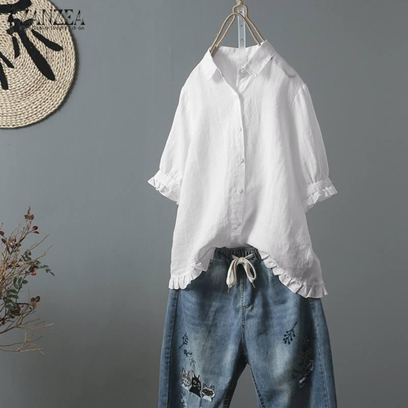 S 5XL ZANZEA Summer Elegant Work OL Blouse 2019 Women Causal Solid Short Sleeve Cotton Linen Ruffled Loose Chic Blusas Shirts