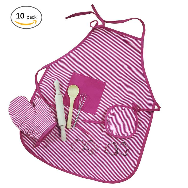 11 PCS Children Chef Clothes Set Cooking Play Kits With Apron For Girls Plastic Kids Kitchen Toys Miniature Play Food Plates Toy