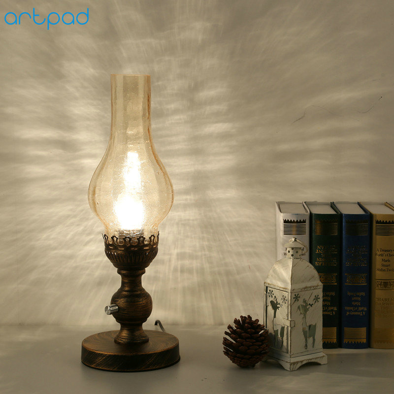 Artpad Chinese Style Retro Vintage Kerosene Lamp Glass Lampshade Dimming LED Table Light EU US Plug