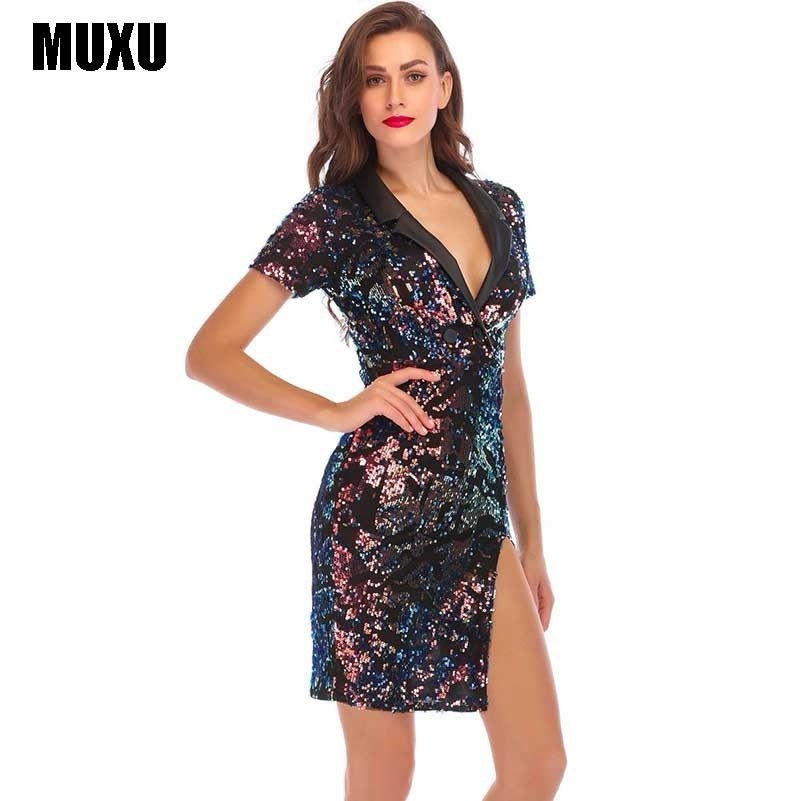 ee9ecb86d67 Блестящие радужные блесток платье для женщин модные