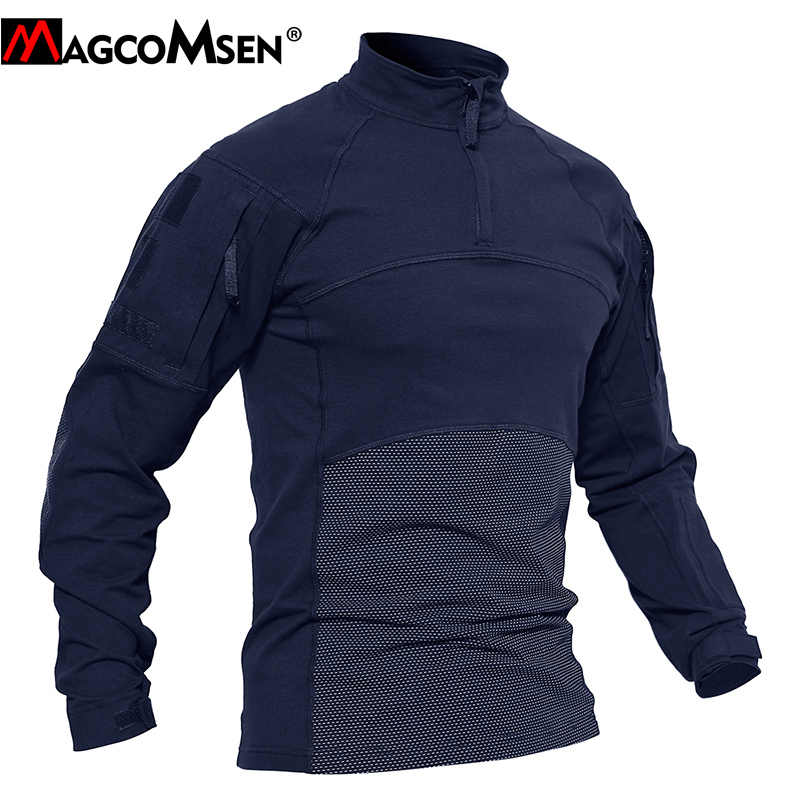 MAGCOMSEN גברים טקטי חולצות קיץ ארוך שרוול אלסטי צבאי צבא Combat חולצות חיל הים Airsoft למעלה Tees זכר בגדים