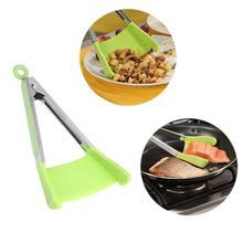 2 в 1 антипригарные термостойкие силиконовые умные Щипцы Зажим кухонная лопатка из нержавеющей стали Ручка для сковороды кухонная посуда