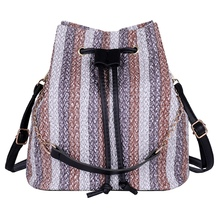New Drawstring Women'S Straw Bucket Bag Summer Woven Shoulder Bags