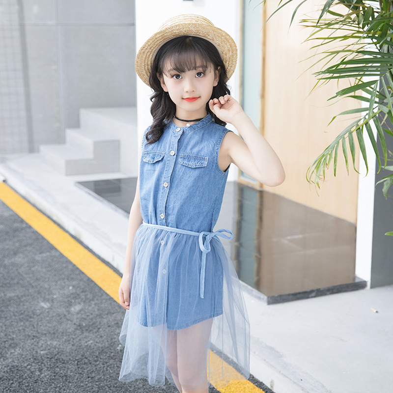 Children 39 s clothing new summer sleeveless cotton 2019 new denim shirt mesh skirt suit baby girl clothes in Clothing Sets from Mother amp Kids