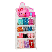 Doll Shoes Rack Playhouse Accessories One Set For Doll House White Miniature Furniture Kids Pretend Play For Girl Gift Newest