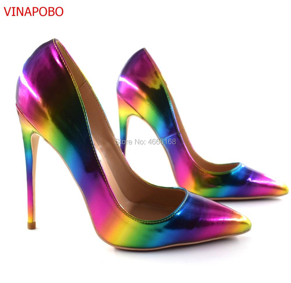 2019 New Arrivals Rainbow Gradient Color Printed Leather Pumps For Women Pointed Toe 12CM High Heel