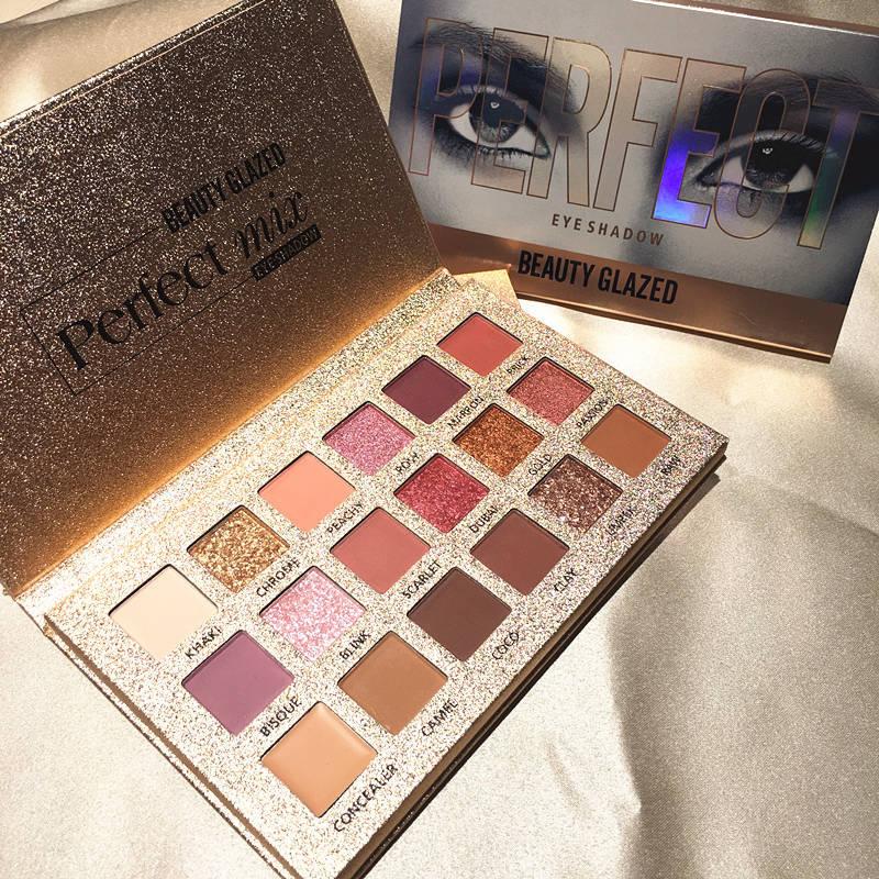 Beleza Vitrificada 18 Cores NUDE Glitter Eyeshadow Palette Maquiagem Gloss Pigmento Smoky Eyeshadow Palette Cosméticos À Prova D' Água