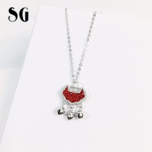 Romantic 925 sterling Silver Red&white cubic zircon Lock chain Pendant Necklaces for Women fine Jewelry Collar free shipping цена 2017
