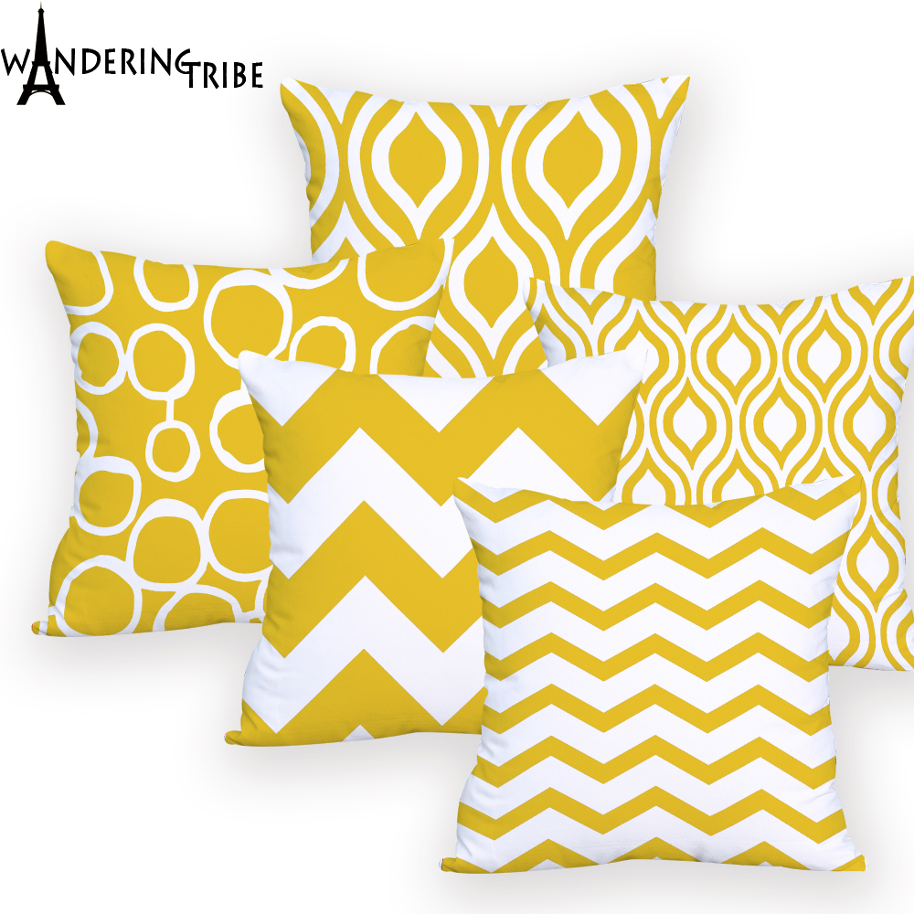Cover Cushion Geometric Yellow  For Chair Personalized  Pillowcase Cover Geometric Stripe Throw Pillow  Outdoor Custom Printed