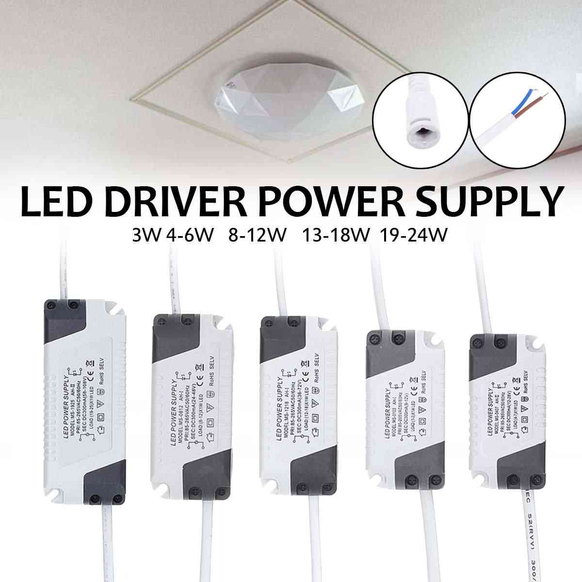 Светодиодный драйвер 300mA 85-265 V трансформатор постоянного тока для 3/4-7/8-12/13-18/19-24 W светодиодная лампа полосы