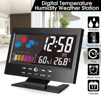 Elektroniczny cyfrowy zegar na biurko LCD Alarm pogody wyświetlacz zegara temperatura wilgotność termometr pokojowy higrometr kalendarz tanie i dobre opinie Plac Fala ruch Krótkie Z podświetleniem Zegary biurkowe DIGITAL Temperature Humidity Meter Z tworzywa sztucznego Kalendarze