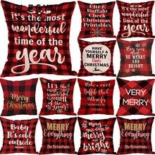 HGLEGYW Веселый Рождественский красный олень пледы наволочка хлопок лен печатных наволочки для дивана украшение дома офисный Текстиль